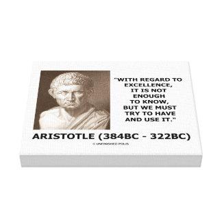 La excelencia de Aristóteles no bastantes Know Impresión En Lienzo