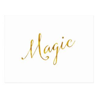 La falsa hoja de oro de la cita mágica cita el postal