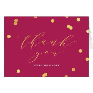 La falsa hoja del confeti le agradece notecard tarjeta pequeña