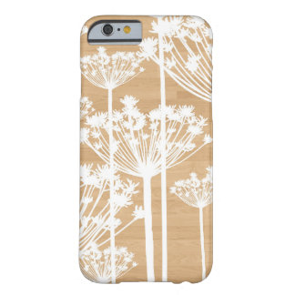 La falsa madera florece el estampado de flores funda de iPhone 6 barely there