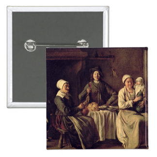 La familia campesina, 1642 (aceite en lona) chapa cuadrada 5 cm