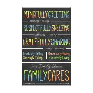 La familia cuida la lona impresión en lienzo estirada