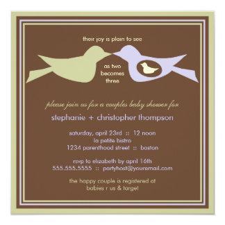 La familia de pájaro junta la lila y el sabio de invitación 13,3 cm x 13,3cm