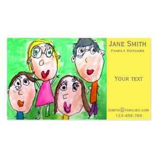 La familia del cuidado de niños de la guardería de tarjetas de visita