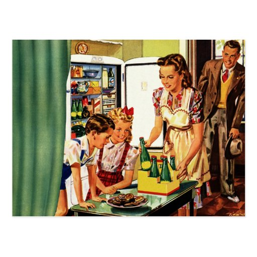 La familia del vintage en el papá de la mamá de la tarjeta postal