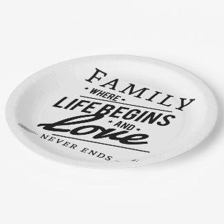 La familia donde la vida comienza y el amor nunca plato de papel