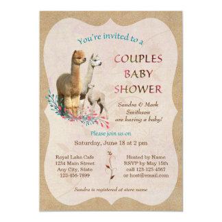 La familia linda de la alpaca junta la invitación invitación 12,7 x 17,8 cm