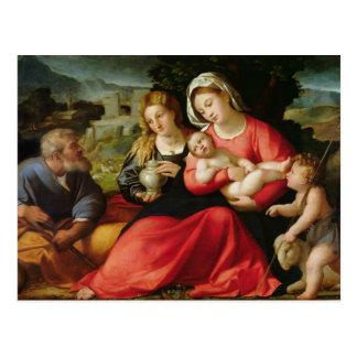 La familia santa, c.1508-12 (aceite en lona) postal
