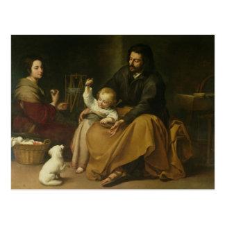 La familia santa con el pequeño pájaro, c.1650 postal