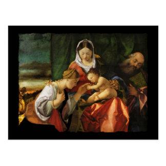 La familia santa con el santo Catherine Postal