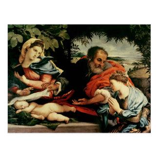 La familia santa con St. Catherine de Postal
