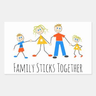 La familia se pega junta pegatina rectangular