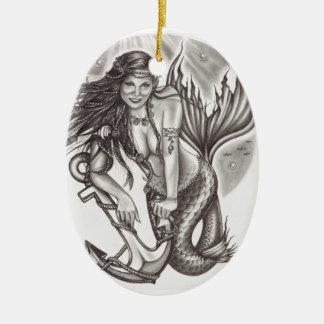 La fantasía del marinero adorno ovalado de cerámica