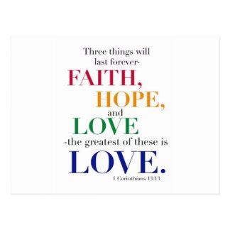 La fe, esperanza, amor, el más grande de éstos es  postales