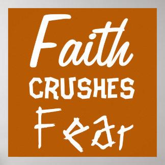 La fe MACHACA cita inspiradora del miedo Póster