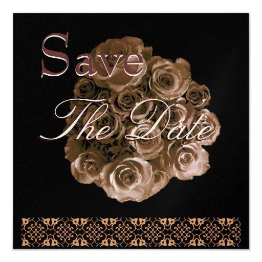 La fecha subió ORO ANTIGUO elegante de la reserva Invitaciones Personalizada