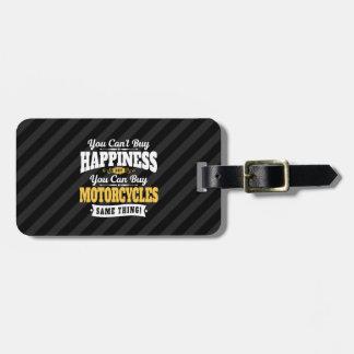 La felicidad de la compra del canto del motorista etiqueta para maletas