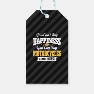 La felicidad de la compra del canto del motorista etiquetas para regalos