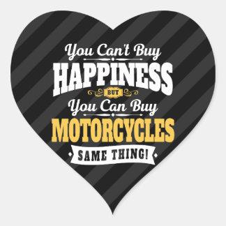 La felicidad de la compra del canto del motorista pegatina en forma de corazón