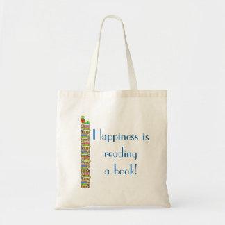 La felicidad está leyendo un libro bolso de tela