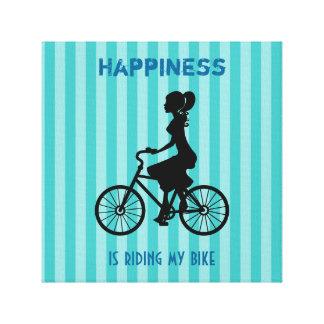 La felicidad está montando mi bici - silueta del lienzo envuelto para galerías