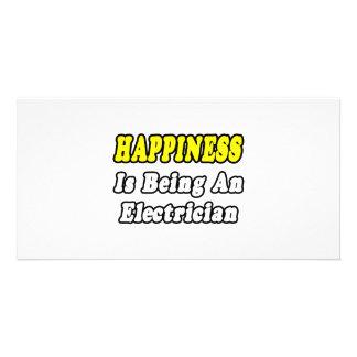 La felicidad está siendo electricista tarjeta con foto personalizada
