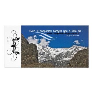 La felicidad olvida la tarjeta de encargo de la fo tarjeta fotografica personalizada