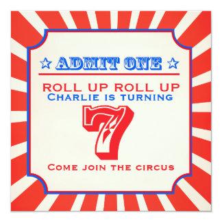 La feria de diversión del circo 7ma embroma la invitación 13,3 cm x 13,3cm