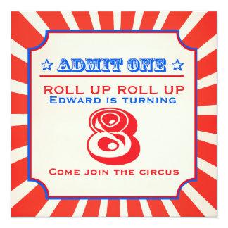 La feria de diversión del circo 8va embroma la invitación 13,3 cm x 13,3cm