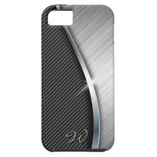 La fibra de carbono y cepilló la caja de la mota d iPhone 5 protector