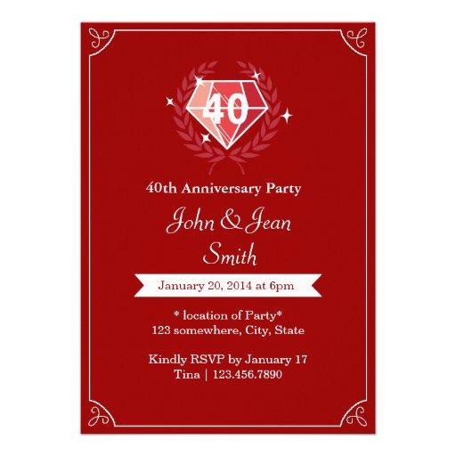 La fiesta de aniversario de rubíes del boda de las invitacion personal