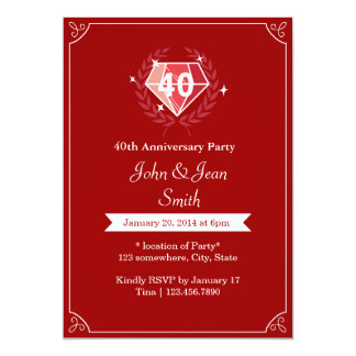La fiesta de aniversario de rubíes del boda de las invitación 12,7 x 17,8 cm