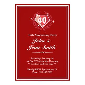 La fiesta de aniversario de rubíes roja grande de invitación 12,7 x 17,8 cm