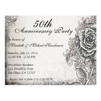 La fiesta de aniversario subió vintage elegante postal