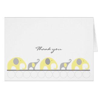 La fiesta de bienvenida al bebé amarilla y gris le tarjeta pequeña