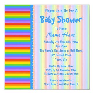 La fiesta de bienvenida al bebé, arco iris raya el invitación 13,3 cm x 13,3cm