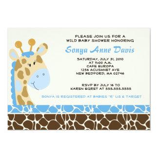 La fiesta de bienvenida al bebé (azul) 5x7 del invitación 12,7 x 17,8 cm