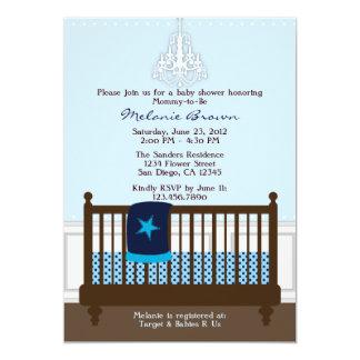 La fiesta de bienvenida al bebé azul de la invitación 12,7 x 17,8 cm