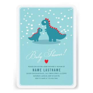 La fiesta de bienvenida al bebé azul del dinosauri anuncio personalizado