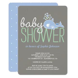 La fiesta de bienvenida al bebé azul embarazada invitación 12,7 x 17,8 cm