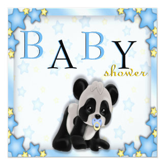 La fiesta de bienvenida al bebé azul linda del oso invitación 13,3 cm x 13,3cm