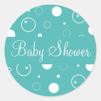 La fiesta de bienvenida al bebé burbujea sello del pegatina redonda