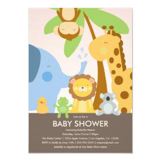 La fiesta de bienvenida al bebé de los animales el invitación 12,7 x 17,8 cm