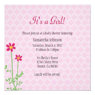 La fiesta de bienvenida al bebé del chica invita invitación 13,3 cm x 13,3cm