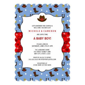 La fiesta de bienvenida al bebé del vaquero invita invitación 12,7 x 17,8 cm