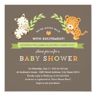 La fiesta de bienvenida al bebé dulce del safari invitación 13,3 cm x 13,3cm