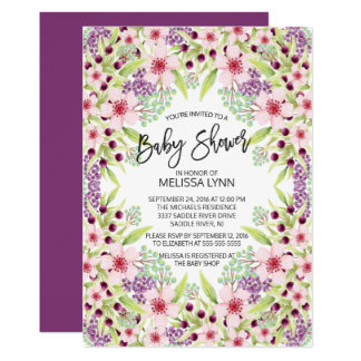 La fiesta de bienvenida al bebé floral moderna invitación 12,7 x 17,8 cm