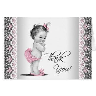 La fiesta de bienvenida al bebé gris rosada del tarjeta pequeña