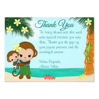 La fiesta de bienvenida al bebé hawaiana del mono invitación 11,4 x 15,8 cm