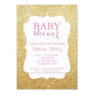 La fiesta de bienvenida al bebé invita - brillado invitación 12,7 x 17,8 cm